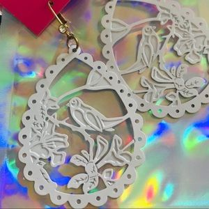 Betsey Johnson white bird silhouette earrings